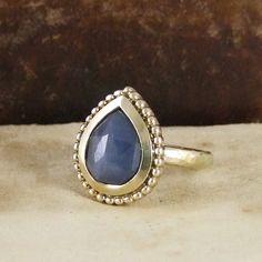 Unique Rose Cut Blue Sapphire India Ring in 9ct Gold