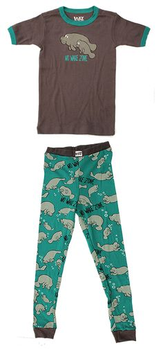 This adorable NO WAKE ZONE pants and top set comes in sizes little kids 2T, 3T, and 4T as well as big kid sizes; Size 6, Size 8, Size 10.  These are close fitting lounge wear or PJs that will be loved by all.  They sport the phrase NO WAKE ZONE underneath the pair of gray manatees on the front of the shirt as well as in the print of the pants.
