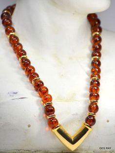 Rootbeer Faux  Amber Tortoise Lucite Vintage Napier Necklace Gold Tone Pendant  #Napier