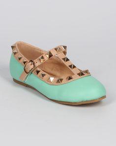 New-Girl-Fab-Kicks-K-Jovie-27-Leatherette-Round-Toe-Studded-T-Strap-Ballet-Flat