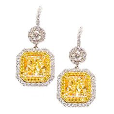 Elegant and Classic Fancy Yellow Diamond Earrings | From a unique collection of vintage dangle earrings at https://www.1stdibs.com/jewelry/earrings/dangle-earrings/