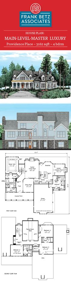 Providence Place: 3162 sq ft, 4 bdrm, luxury house plan design by Frank Betz Associates Inc. Home Design Plans, Plan Design, Design Ideas, Providence Place, Frank Betz, Luxury House Plans, Dream Houses, House Floor Plans, Sims