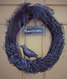 On the hunt for last-minute Halloween decor ideas? Try this DIY door wreath inspired by The Raven. Halloween Season, Cute Halloween, Holidays Halloween, Halloween Flowers, Halloween 2018, Winter Holidays, Fall Door Decorations, Halloween Decorations, Fall Decor