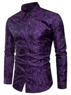 6c33c07d2 Glossy Camouflage Long Sleeve Shirt - PURPLE 3XL Men Shirts, Collar Shirts,  Cheap Shirts