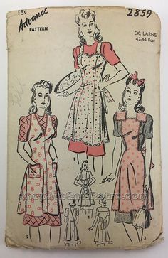 Advance 2859 Apron Sewing Pattern - XL - 42 to 44 inch bust Vintage Apron Pattern, Vintage Dress Patterns, Aprons Vintage, Retro Pattern, Upcycled Vintage, Apron Patterns, Retro Apron, Embroidery Designs, Vintage Embroidery
