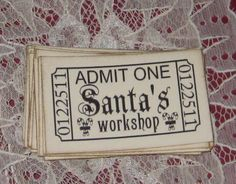 20 Santa's Workshop Admit One tickets by Judyscrafts on Etsy, $9.99