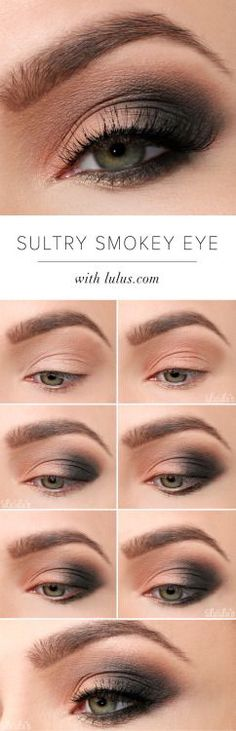 sultry look for hooded eyes with peach, charcoal and taupe brown shadows
