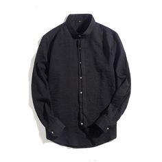 f2ffb4001e980 Buy Long Sleeve White Shirt Men Black Shirt Slim Fit Mandarin Collar Shirt  Men at Narvay