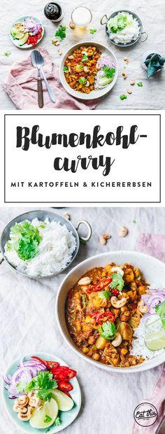 Hat hier jemand Curry gesagt? Für den Curry-Heißhunger gibt's ein leckeres veganes Blumenkohl-Curry mit Kartoffeln und Kichererbsen