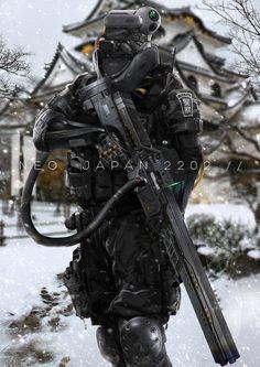 Fotos de soldados regulares transformados em guerreiros do futuro