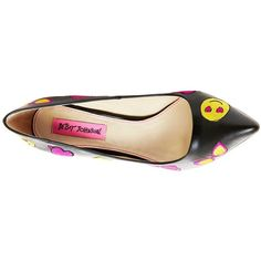 PAPII - Express yourself in Betsey Johnson's pointed toe pump. The PAPII features colorful emojis that pop against a black upper.