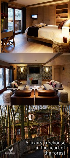Five-star luxury in the heart of the forest, complete with games den, outdoor hot tub, entertainment system, infrared sauna, welcome Champagne hamper and your own dedicated Treehouse host.