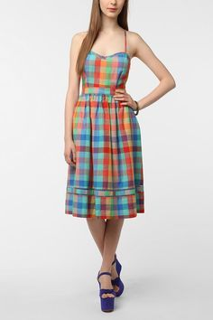 cooperative madras dress urban outfitters - Google Search