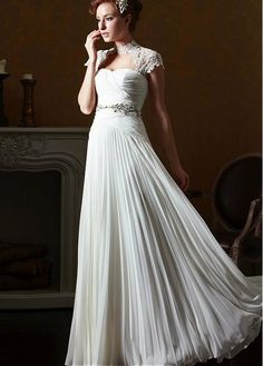 Romantic Chiffon High Collar Neckline Inverted Basque Waistline Sheath Wedding Dress With Rhinestones