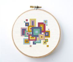 Instant download for an easy mid-century modern geometric style counted cross stitch patten of retro mod blocks or squares. You will download a PDF file of the needlepoint pattern after cleared payment. It is designed on 14 ct. aida fabric for a 6 frame. Easy, regular full cross stitches only.    This listing is for the do-it-yourself pattern only, not the finished product.    You will download a PDF file of the pattern after cleared payment.    TIP: for figuring out what hoop size to use…