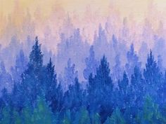 Misty Mountain Pine Forest Acrylic Painting Tutorial for Beginners | Inspiration Conspiracy Art Hop - YouTube