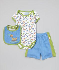This Blue & Green Dinosaur Bodysuit Set - Infant by Duck Duck Goose is perfect! #zulilyfinds
