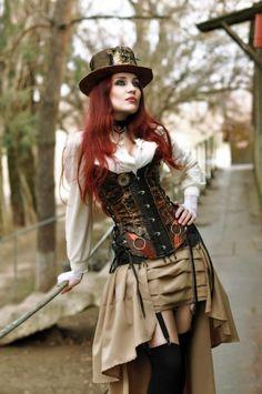 e7704db383 punk-tendencies- steampunk-lady-redhead-corset - ☮k☮