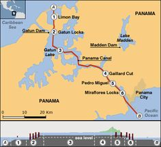 Panama Canal Location On World Map.Map Of Panama Canal Where We Went Through Three Types Of Locks And