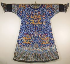 CHINESE EMBROIDERED SILK NINE DRAGON ROBE mid C19th