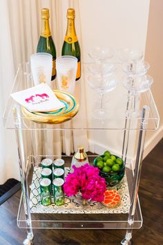 Home Bar - Rolling Cart - Lucite Table - Acrylic Furniture - Home Decor