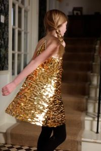 I Love Gorgeous gold sparkle party girls dress