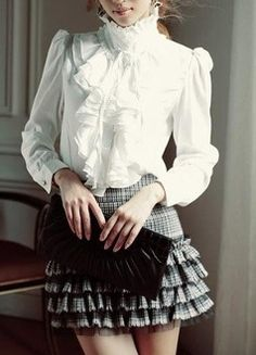 Woman's Ruffled Stand Collar Blouse