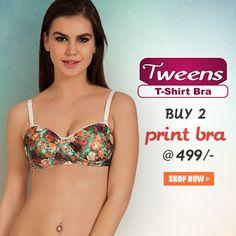 Buy 2 #Tweens Print #Bra @ 499/- #free-shipping , COD, 15 days return @www.bellelingeries.com Affordable Lingerie, Buy Bra, Belle Lingerie, T Shirt Bra, Tween, Cod, Printer, Shop Now, Free Shipping