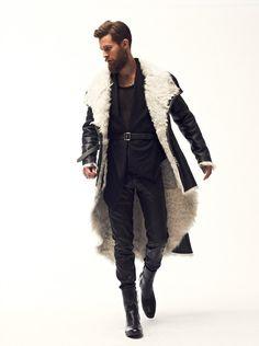Men: Long wool-lined black leather coat. Asymmetrical blazer, black.