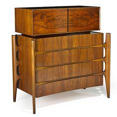 Edmund Spence; Figured Walnut Dresser, 1950s.