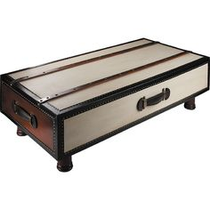 Add cosmopolitan flair to your game room or den with this classic trunk-inspired coffee table, showcasing leather accents and bronze hardware.