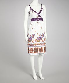 Take a look at this Purple & Green Floral Studded Dress by Bacci on #zulily today!