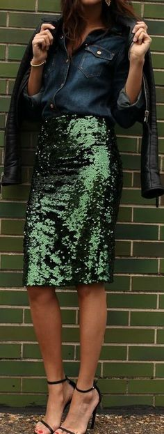 A little sparkle for the holiday season, whilst still keeping it edgy with the leather jacket