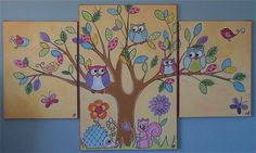 Great ideas for murals for walls - for babies, girls, boys, teens & adults - or paintings on canvas for movable colour Bird Paintings On Canvas, Canvas Wall Art, Nursery Paintings, Canvas And Cocktails, Canvas Art Projects, Furniture Painting Techniques, Whale Art, Painting People, Painting Inspiration