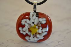 Amber  Fused Glass Jewelry  Necklace  FUSED GLASS by BillyandPurts
