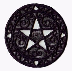 Lace Pentagram Witch Embroidered Flour by EmbroideryEverywhere, $12.99