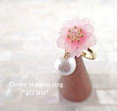 満開桜とコットンパールのふんわりリング | ハンドメイドマーケット minne