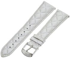 MICHELE MS20AB370156 20mm Leather Calfskin White Watch Strap ** You can find out more details at the link of the image.