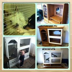 tutorial turning dresser in to bunny hutch   Tv console to bunny cage