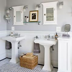 timeless bath.  pair of pedestal sinks, gray, beadboard, and basket-weave tile.