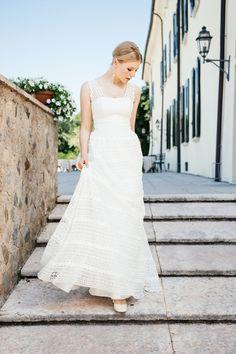 Hippie Brautkleid mit Trägern und Tülltaschen – Theresa