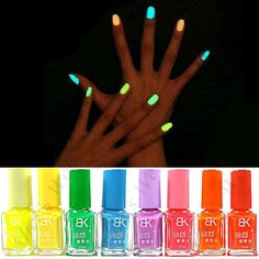 NEON NAIL POLISH GLOWS IN THE DARK COLOR YELLOW Great stocking stuffers! Great for girls sleep overs!