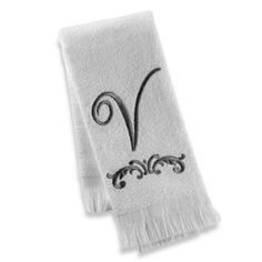 Add the elegance of a monogrammed fingertip towel with embroidered script to your powder room. This soft and pretty towel will add just the right touch to beautify your bathroom. Fingertip Towels, Letter V, Guest Towels, Monogram Letters