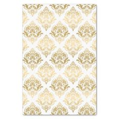 White And Gold Floral Damasks Geometric Pattern Tissue Paper