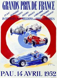 1952 Grand Prix de France F1 Race Ad Fine Art Print