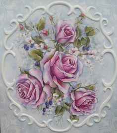 French decor rococo style romantic roses painting victorian shabby. $165.00, via Etsy.
