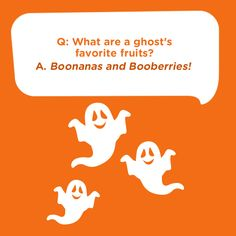 Here's a silly kids joke for Halloween: Q: What are a ghost's favorite fruits? A: Boonanas and Booberries! Haha Heres a silly kids joke for Halloween: Q: What are a ghosts favorite fruits? A: Boonanas and Booberries! Cute Jokes, Corny Jokes, Mom Jokes, Funny Jokes For Kids, Kids Humor, Kid Friendly Jokes, Halloween Jokes, Halloween Cards, Haha