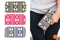 This trendy Aztec wallet is the perfect accessory to hold your important things. Great gift idea for moms, sisters, friends, etc. Pick your favorite color at pickyourplum.com for 53% off!