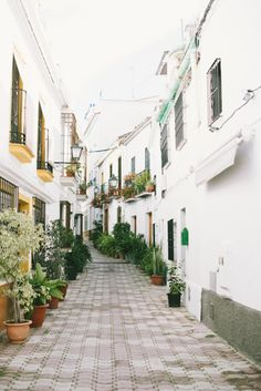 Marbella Spain, lovely street with little shops great cafés. Best paella.