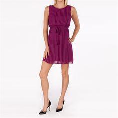 Jessica Simpson Pleated Dress with Back Inset from Von Maur #VonMaur #JessicaSimpson #Purple #Pleated #Chiffon